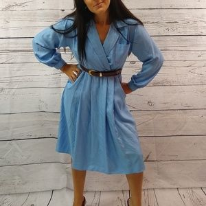 80s faux wrap collared dress wuth pockets